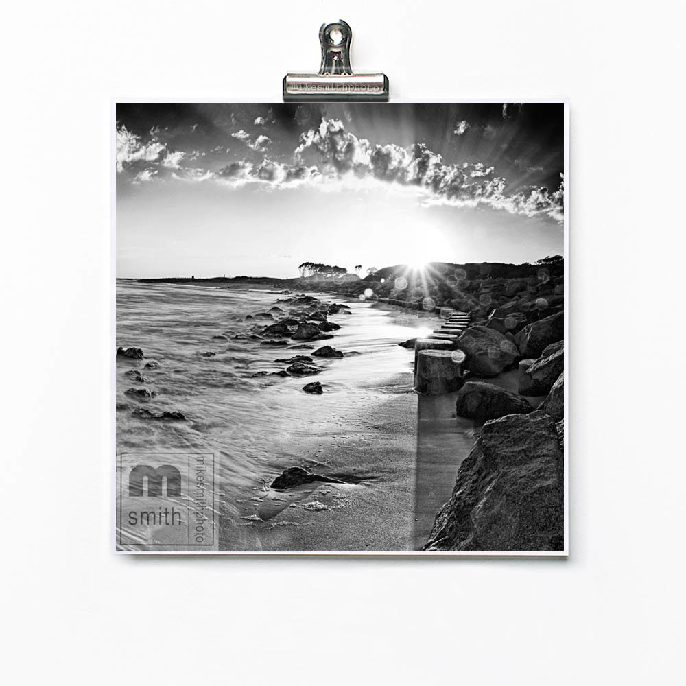 Black and white fine art photo print of beach and sunset. Beach and nautical wall art decor by mike smith photo.
