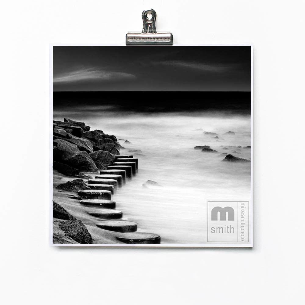 Black and white seascape photo print. Fine art photography by mike smith of Wilmington NC. Jetty no1 limited edition art prints. Nautical beach wall art decor.